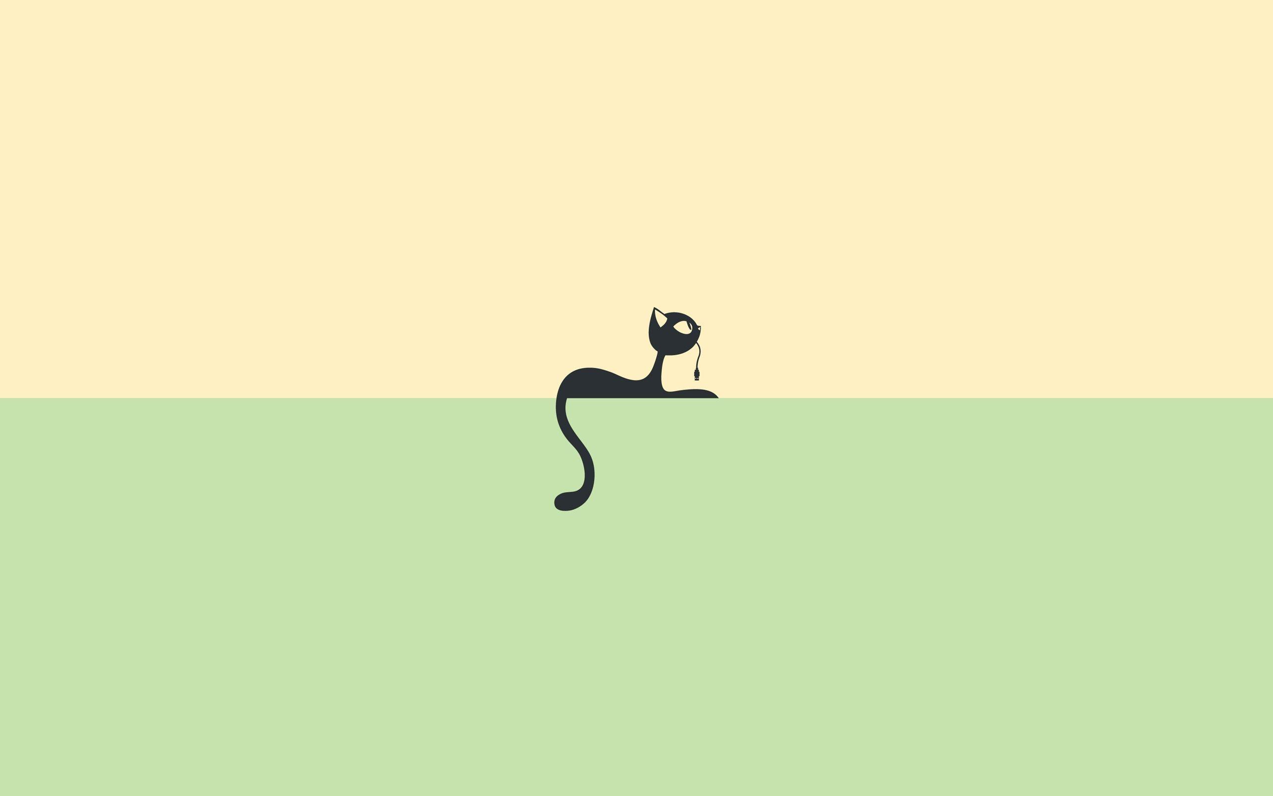 b67e7f620 Wallpaper Original Cat Drawing Black Green Background Download ...