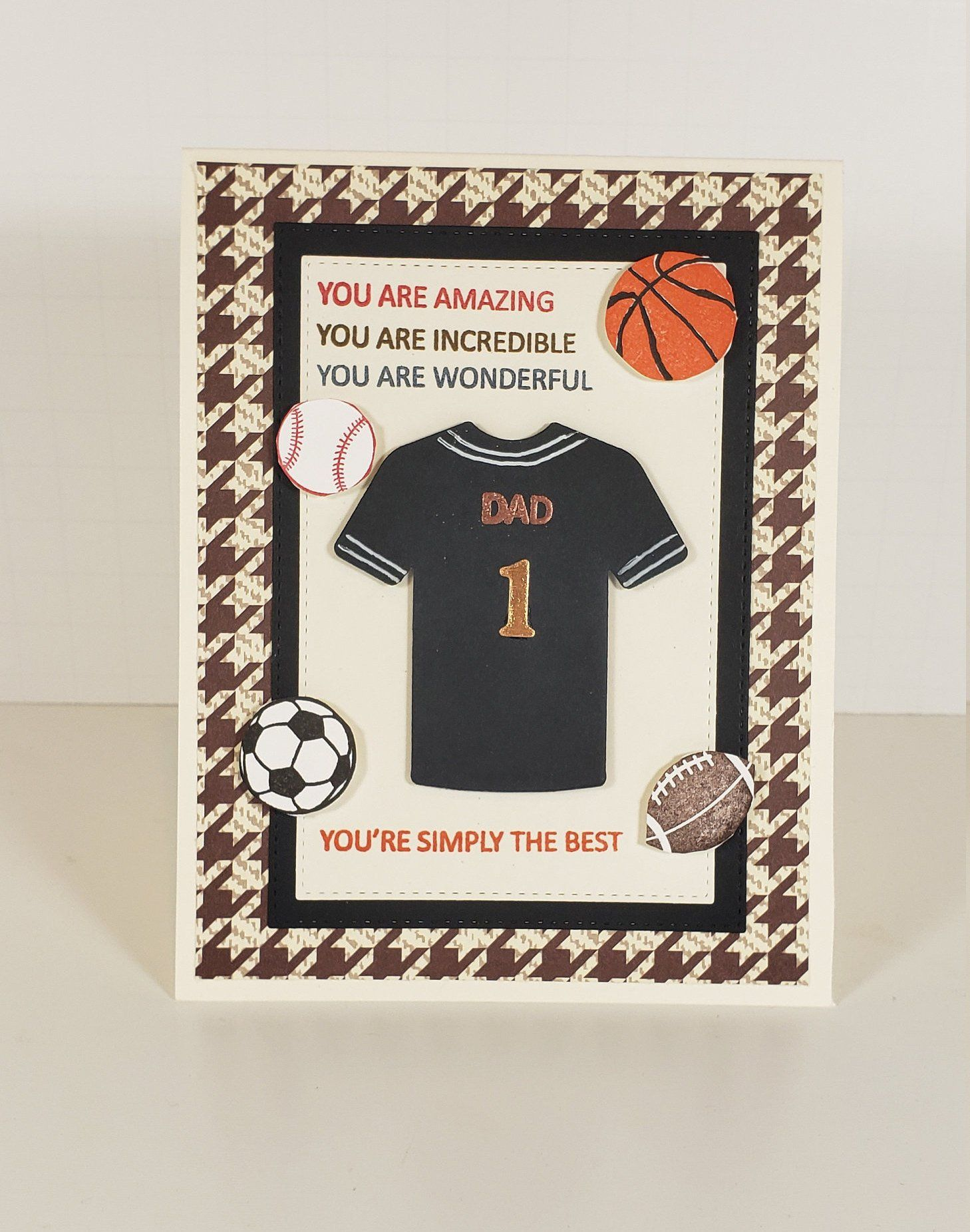 Father S Day Card Sports Themed Father S Day Card Baseball Football Basketball Soccer Sports Theme Handmade Birthday Cards Fathers Day