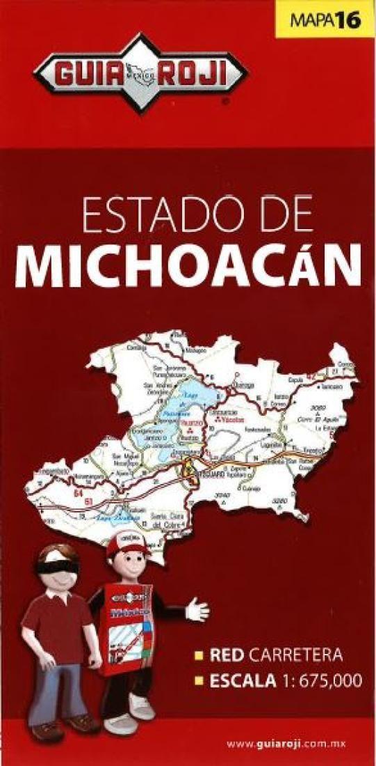 michoacan mexico state map by guia roji