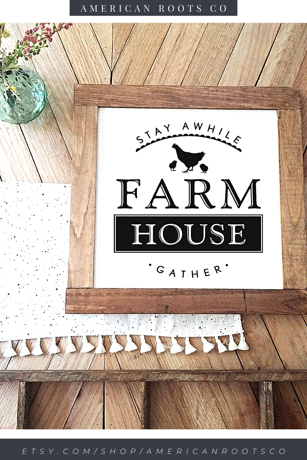 Shop American Roots Co on Etsy for your our Farmhouse stay awhile gather wood sign. All of our farmhouse wall decor is made to order - handcrafted from start to finish! Get 10% off your first order. #Farmhousesign #woodsigns #walldecor #etsy #americanrootsco