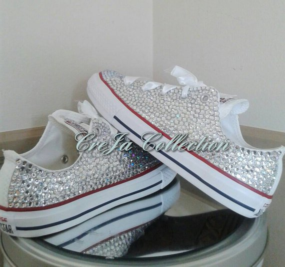 Wedding Sneakers, Wedding Shoes,Bling Converse, Custom