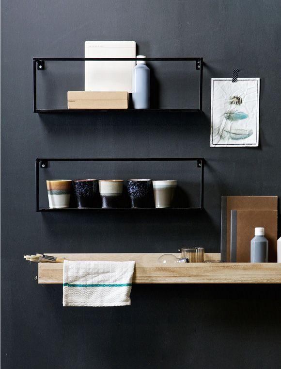 das moderne wandregal aus metall von de eekhoorn ist. Black Bedroom Furniture Sets. Home Design Ideas