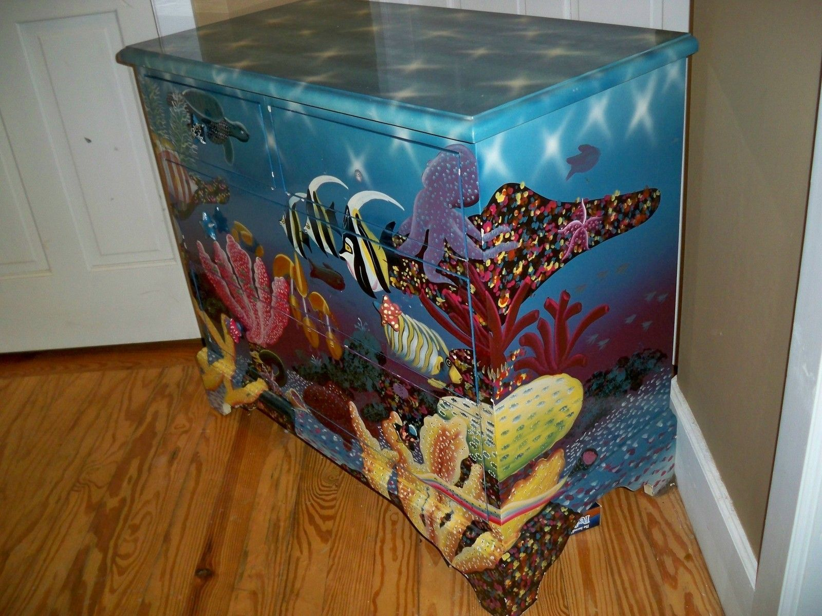 425 00 Ultimate Accents Dresser Chest Painted Airbrushed Fish Nautical Tropical 36 W Ebay