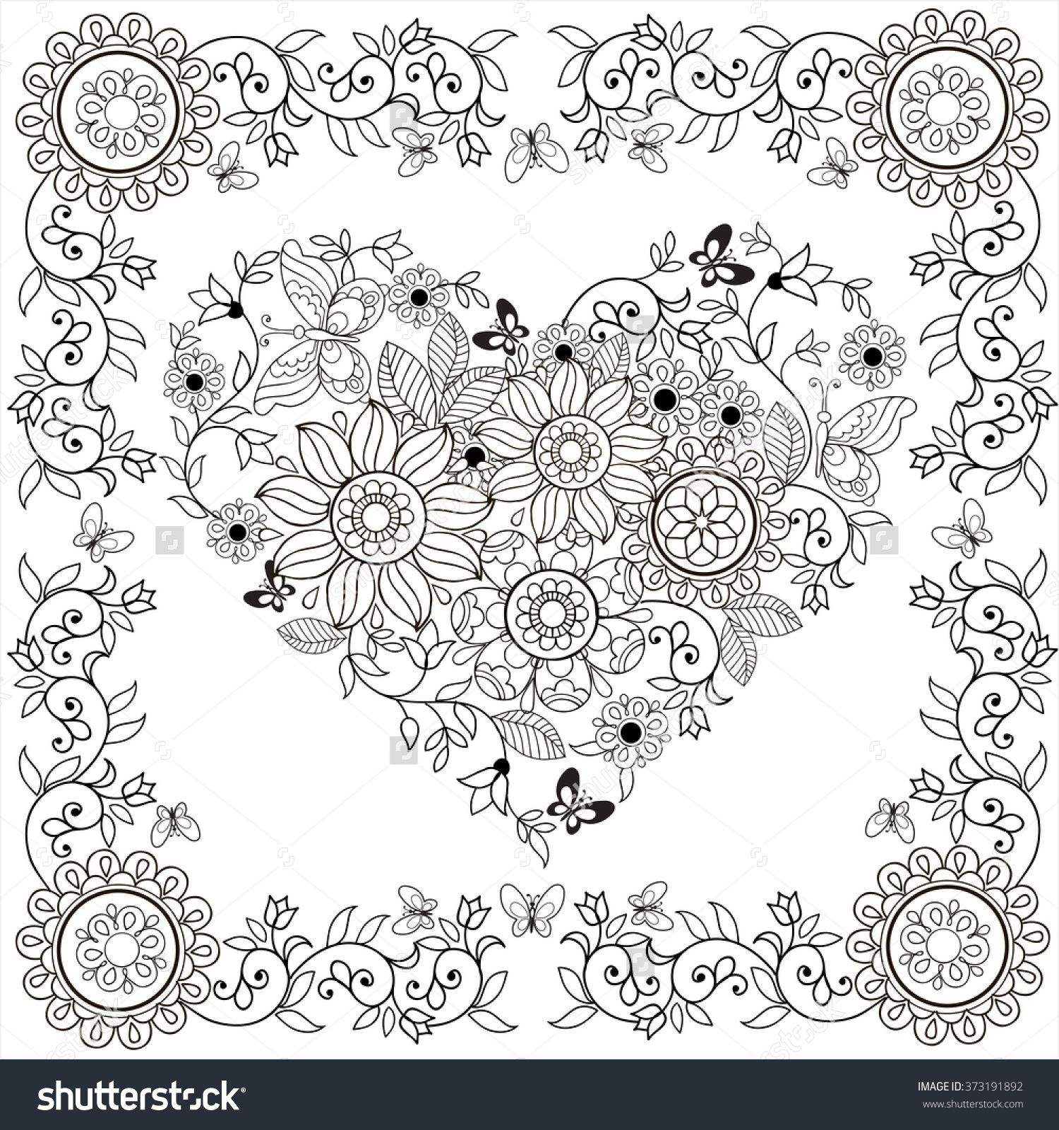 Coloring book Decorative heart of flowers and butterflies in floral ...