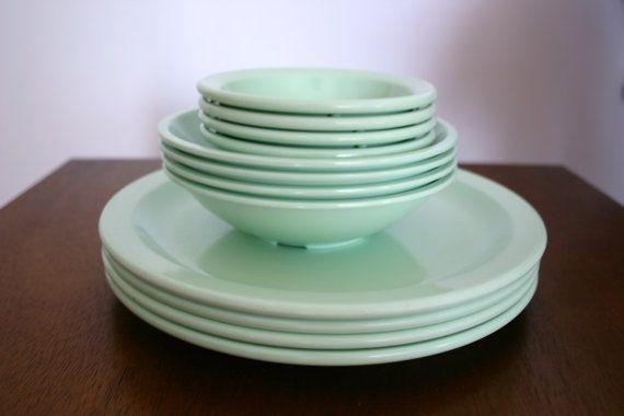 Vintage Mint Green Melamine Plate and bowl set by mrschavous $20.00 & Vintage Mint Green Melamine Plate and bowl set by mrschavous $20.00 ...