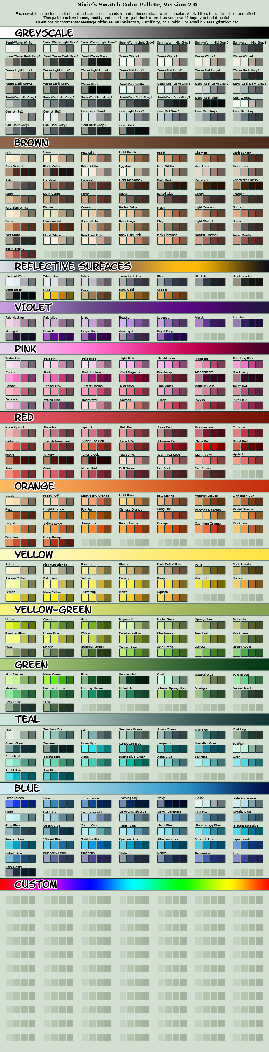 Character Design Color Theory : Vibrant cell shading swatch pallete by nixieseal