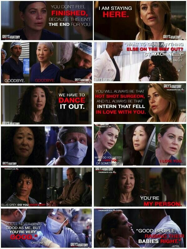 I Cried So Hard Through This Entire Episode Cristina Yang Leaving Was Like An End Of An Era Tgit Wheredoesthegoodgo Coracoes Roxos Youre My Person