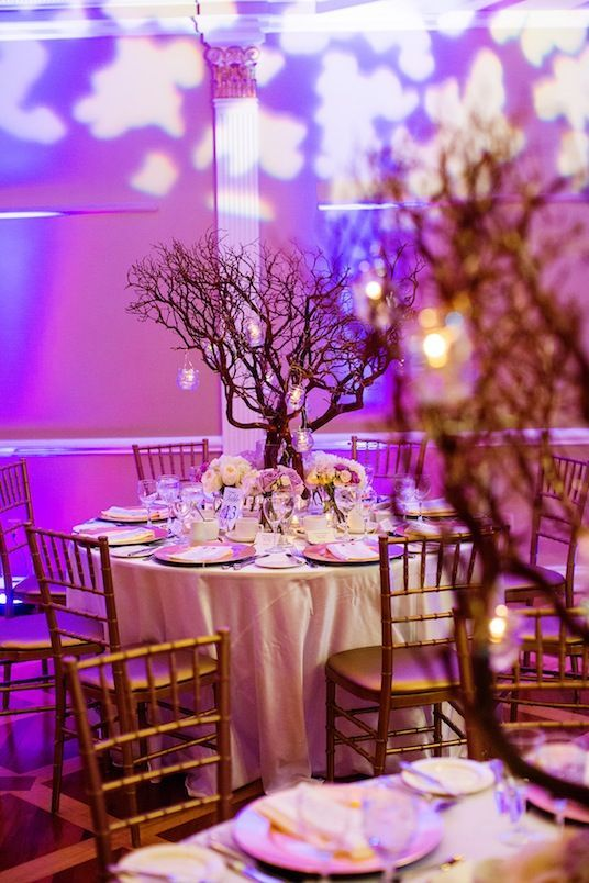 Enchanted Forest Wedding Theme With Table Trees And Purple Light