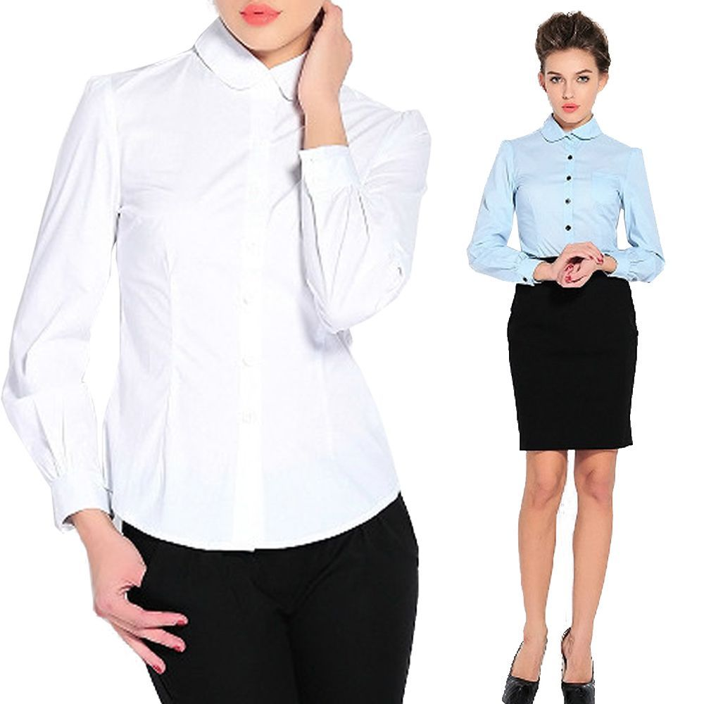 Ladies Girls Smart Work Shirt Office School Formal Blouse Shirts ...