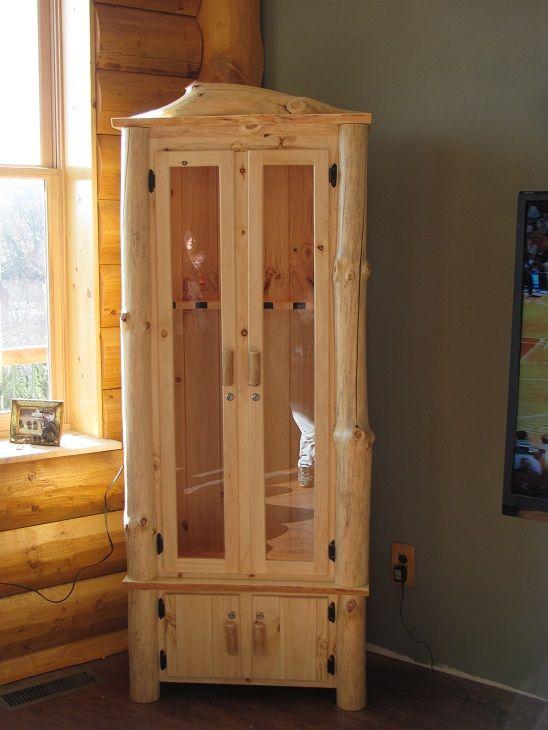 Custom Rustic Log Gun Cabinet Www Kickapoocountrymilling