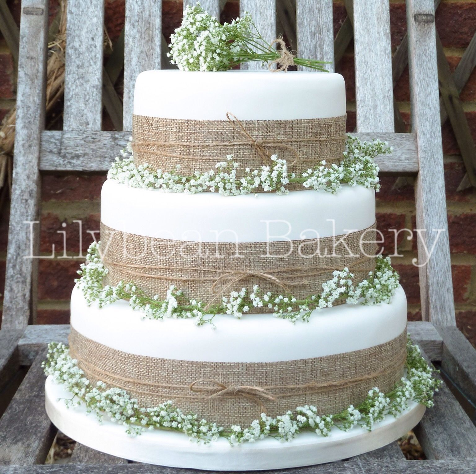 Rustic Gypsophila And Hessian Wedding Cake