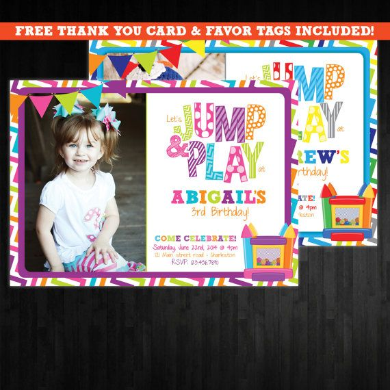 Bounce House Birthday Invitation, First Birthday Party