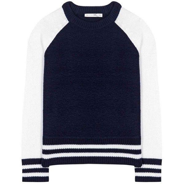 Rag & Bone Jana Wool Sweater ($260) ❤ liked on Polyvore featuring tops, sweaters, blue, rag bone sweater, wool tops, blue sweater, woolen sweater and wool sweaters