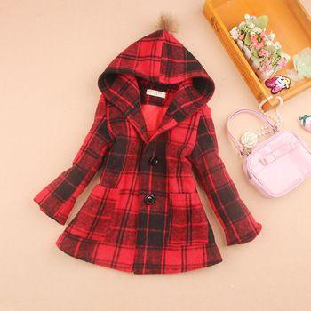 92e9eadb8 2018 Girls Winter Coats Kids Clothes Children Clothing Fashion Plaid ...