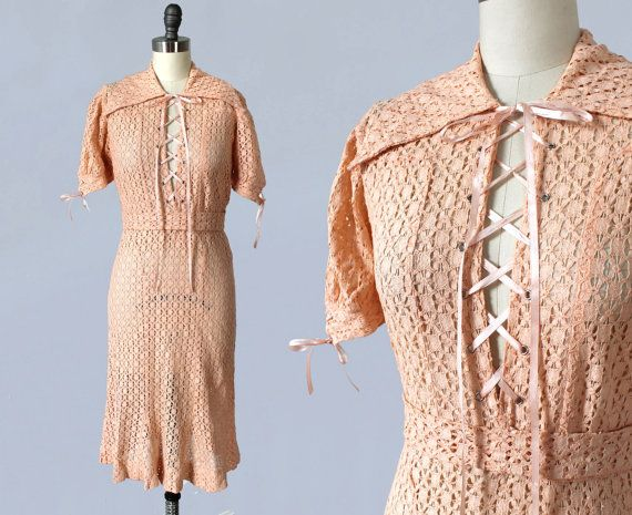 rare 1930s dress 30s peachy pink cotton lace dress. Black Bedroom Furniture Sets. Home Design Ideas