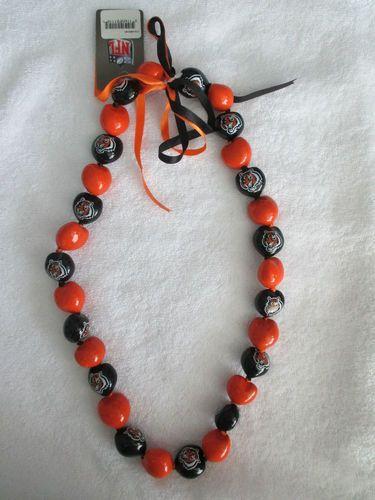 Cincinnati Bengals Necklace Large Beads Ribbon Ties Tigers NFL Football New