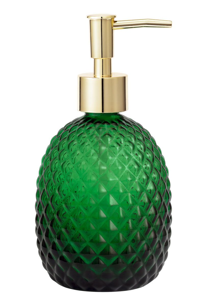 Dark Green Soap Pump In Textured Gl With A Plastic At Top Size Rox 3 1 4 X