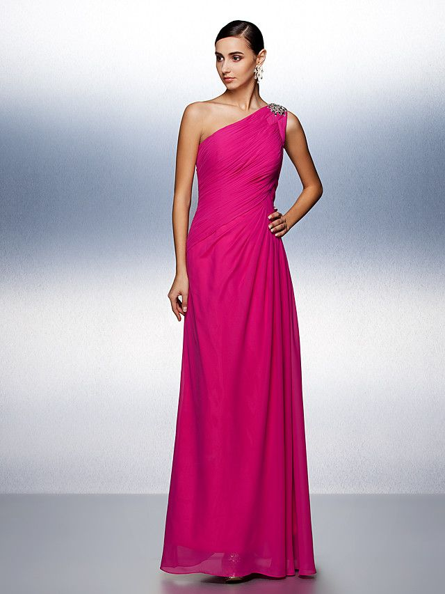 A-Line One Shoulder Floor Length Chiffon Prom / Formal Evening Dress ...
