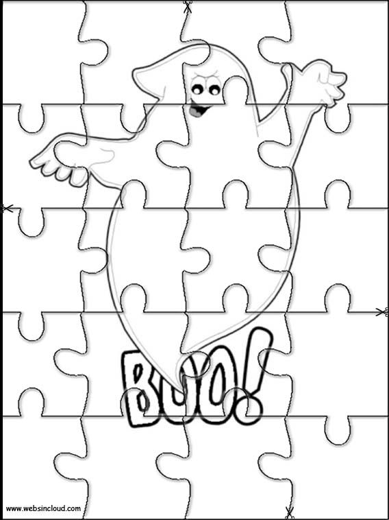 Printable jigsaw puzzles to cut out for kids Halloween 16 Coloring