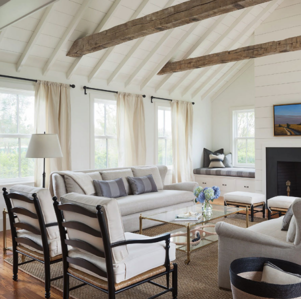 vaulted ceiling shiplap | French country living room ...
