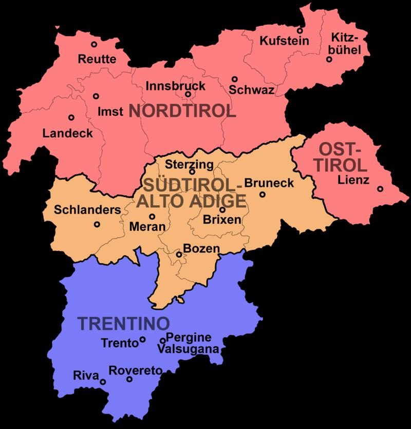 Trento Cartina Italia.Tirol Suedtirol Trentino Contea Del Tirolo Wikipedia Mappa Dell Italia Tirolo Mappe