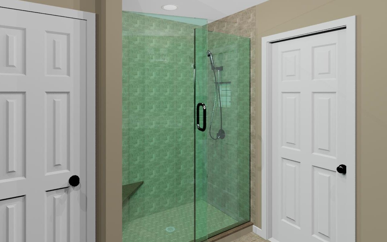 Master Bath Design Version 2 View Of Shower With 2 In 1 Shower