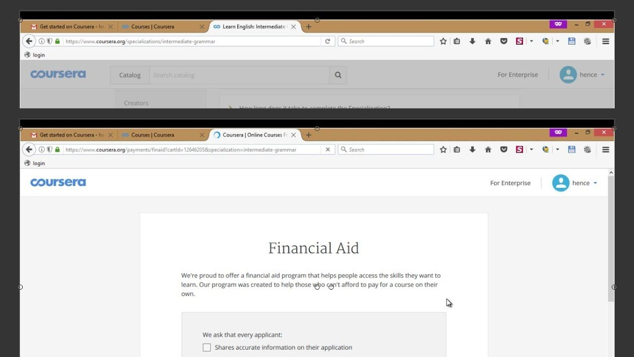 how to answer questions of financial aid of coursera 2017