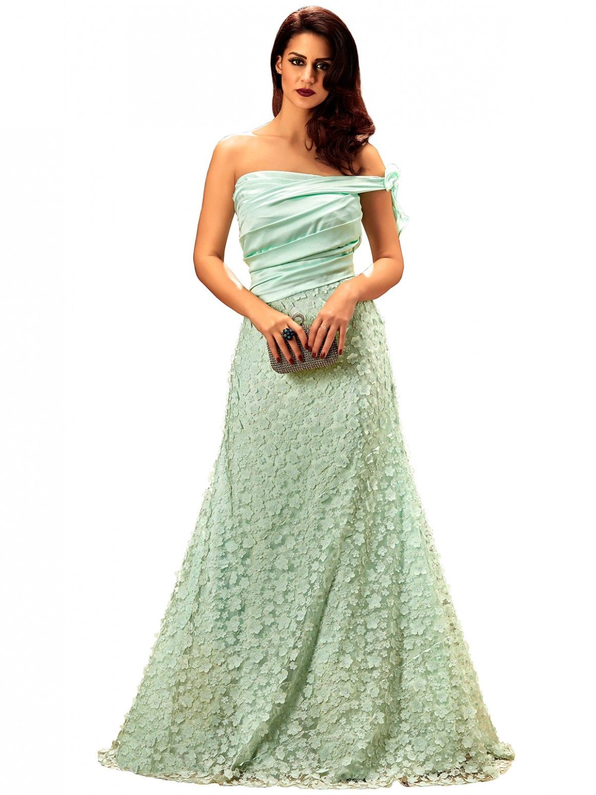 Buy Khwaab Off Shoulder Light Turquoise Floor Length Gown Online at ...