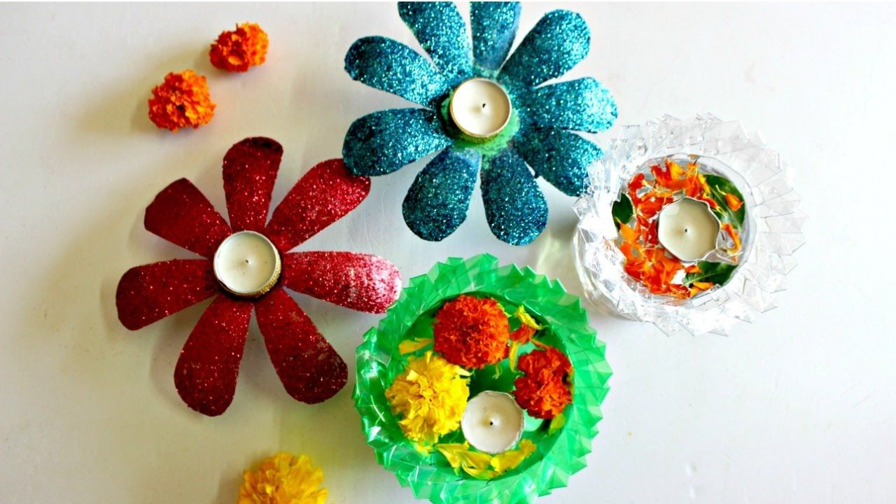 Decorated Plastic Bottles Diwali Decoration Idea Using Only 2 Plastic Bottles  Plastic