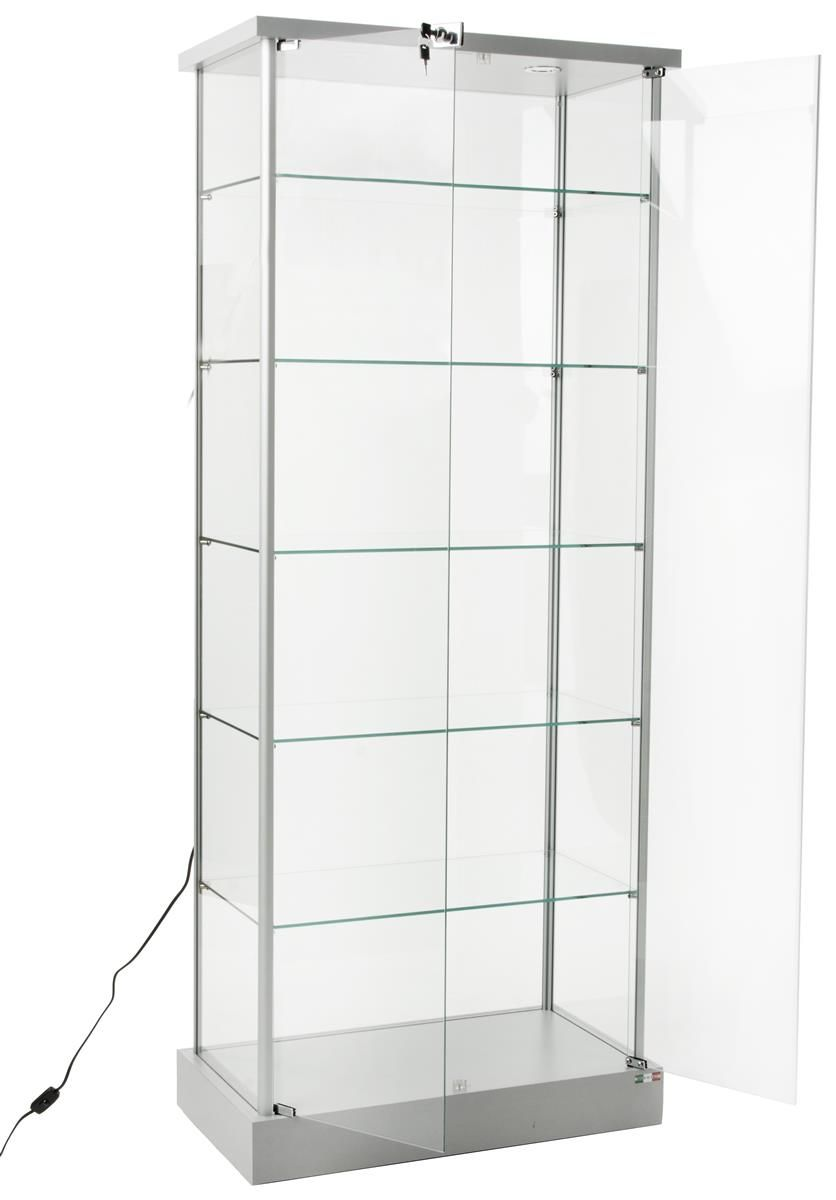 29 Glass Display Case W 5 Shelves Top Lights Wheels Hinged