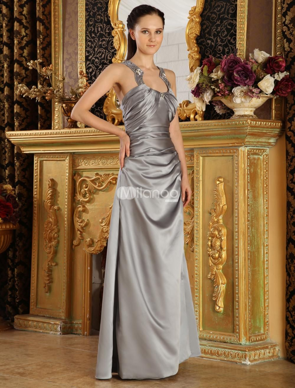Silver Jewel Neck A-line Beading Satin Evening Dress. Sheath-style dresses are always a great choice. They look great, they feel great and are quite fashionable as well. This one is made from a lovely satin fabric and features a draped cowl texture throughout the design. The st.. . See More A-line at http://www.ourgreatshop.com/A-line-C966.aspx