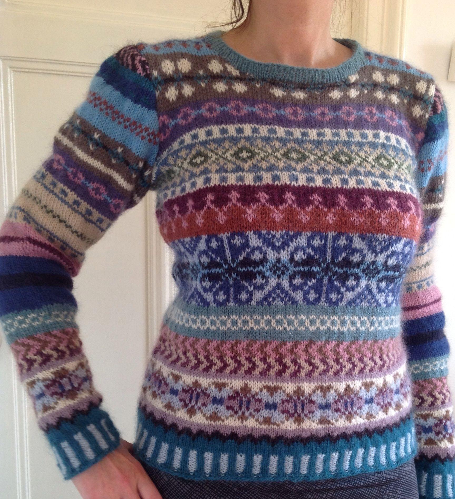 Af, mijn trui van 14 kleuren Rowan classic kids wol. In fair isle ...