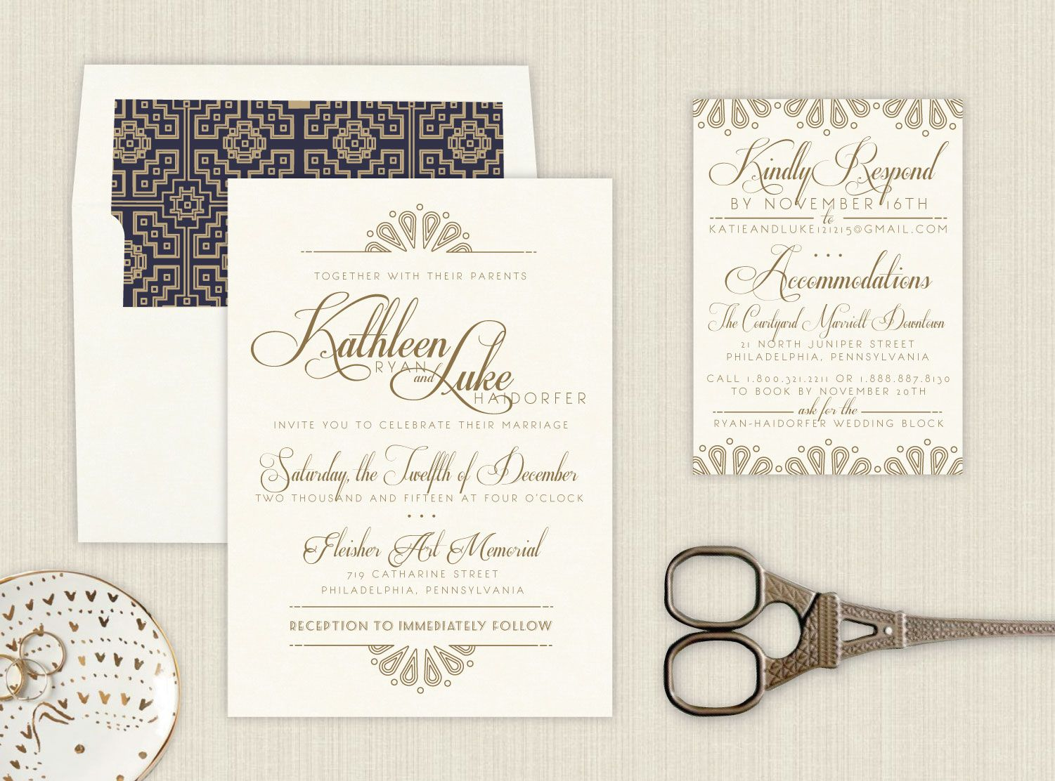 Art Deco Mod Glam Wedding Invitations - raised ink with gold and ...
