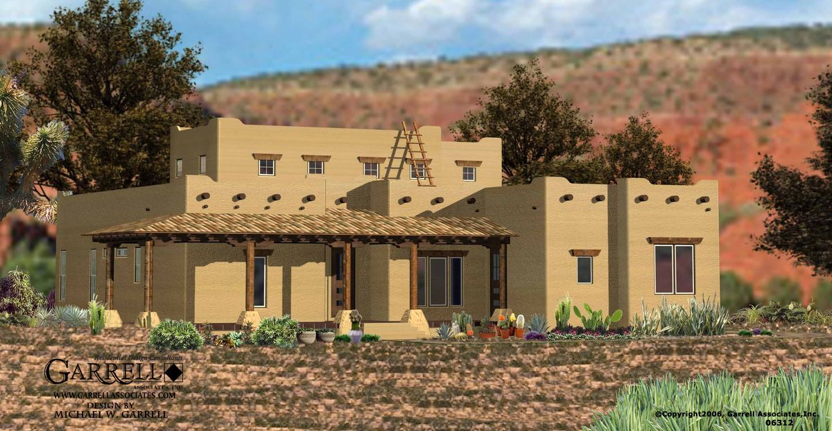Garrell associates inc santa fe house plan 06312 for Southwestern home plans