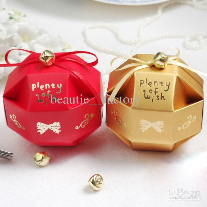 Wedding Bells Decorations 100 Pcs Cute Candy Box With Little Bell Decoration Wedding Favor