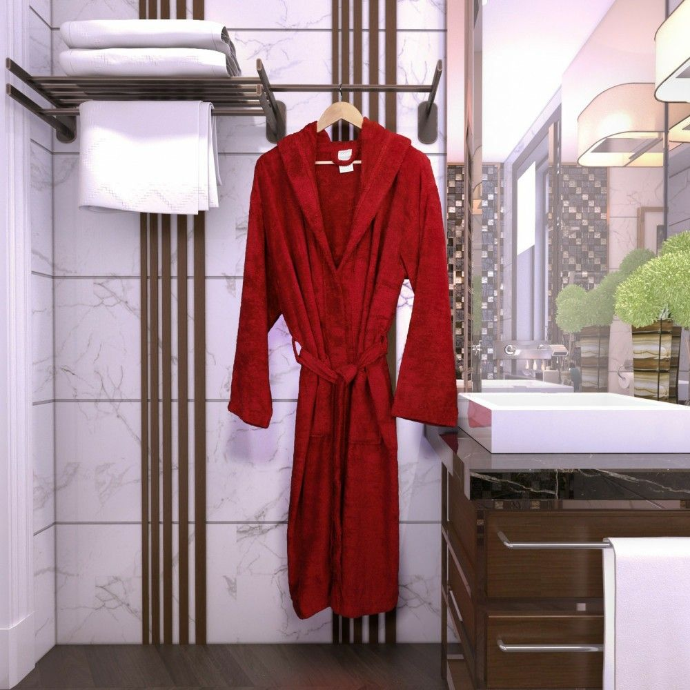 روب قطن فندقي فاخر بقبعة لون عنابي Robe Fashion