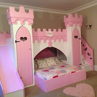 princess castle bed with slide play area other bed above wardrobes and drawers in stairs. Black Bedroom Furniture Sets. Home Design Ideas