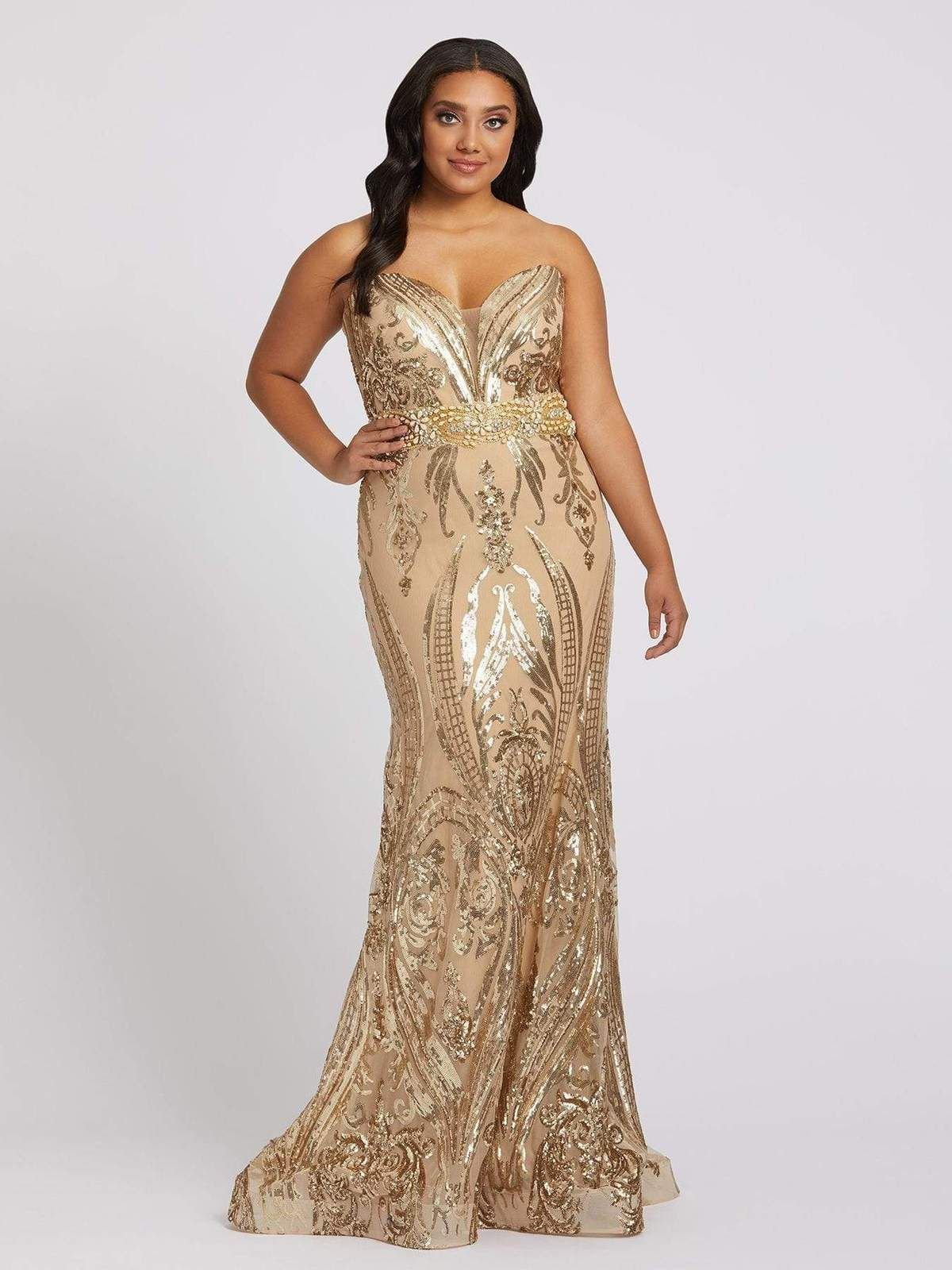 Strapless Damask Sequin Trumpet Gown Gold In 2021 Plus Size Evening Gown Gold Plus Size Dresses Plus Size Prom Dresses [ 1600 x 1200 Pixel ]