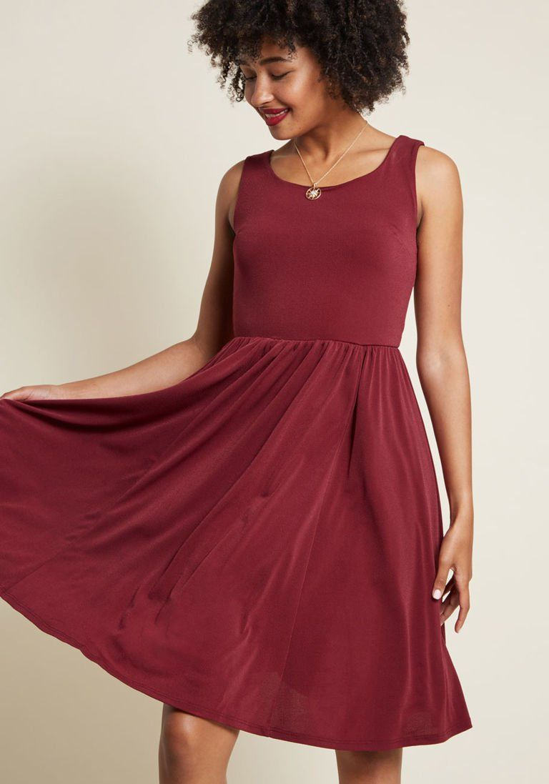 416d58170ea Simple Swish Knit Dress in Burgundy in 4X - Sleeveless A-line Midi by  ModCloth