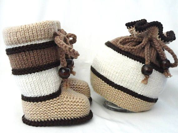 Knitting PATTERN Baby Set Baby Shoes Baby Booties Knitted Baby ...