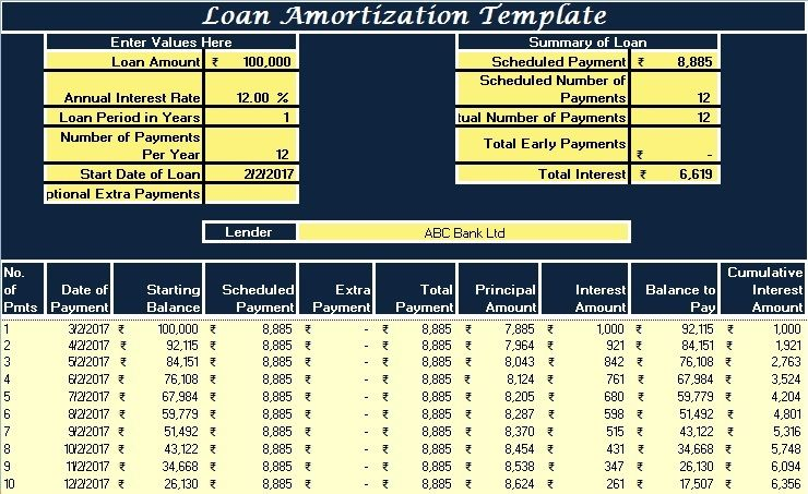 Download Loan Amortization Excel Template  Bill
