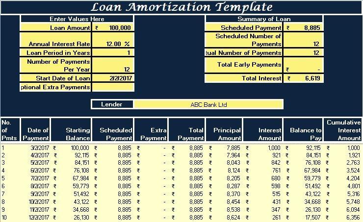 Download Loan Amortization Excel Template bill Pinterest - amortization excel