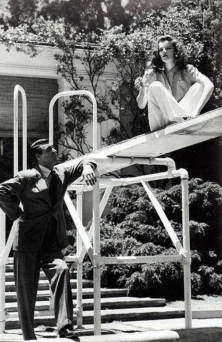 """Cary Grant y Katharine Hepburn en el rodaje de """"Historias de Filadelfia"""""""