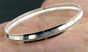 Solid 925 Sterling Silver Cut Out Love Heart Slave Bangle Bracelet 18 cm