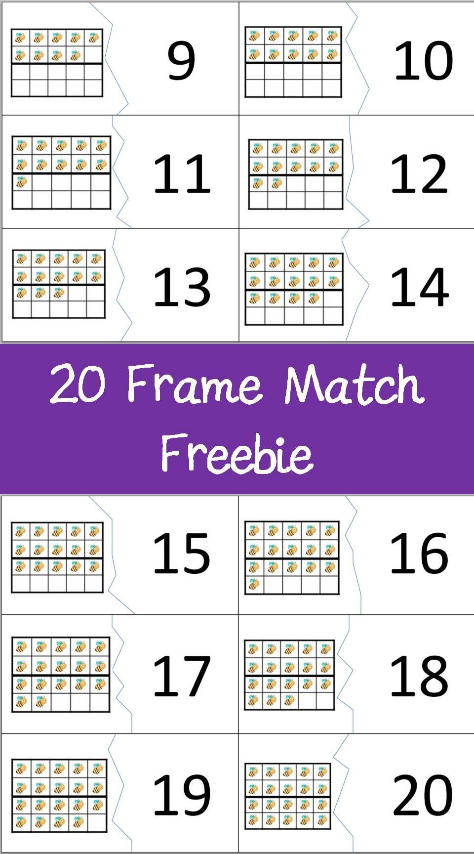 twenty frame match number puzzles counting number sense place value numbers kindergarten. Black Bedroom Furniture Sets. Home Design Ideas