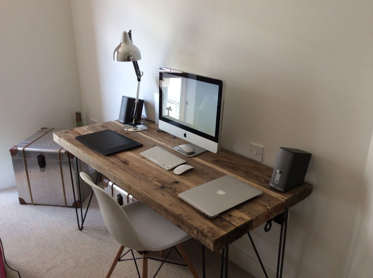 custom office desks. Industrial Chic Reclaimed Custom Hairpin Leg Office Desk Tables.Steel \u0026 Wood | EBay Desks