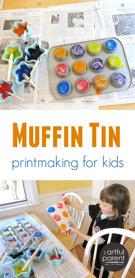 Muffin Tin Printing with Kids | Printing, Crafts and Process art