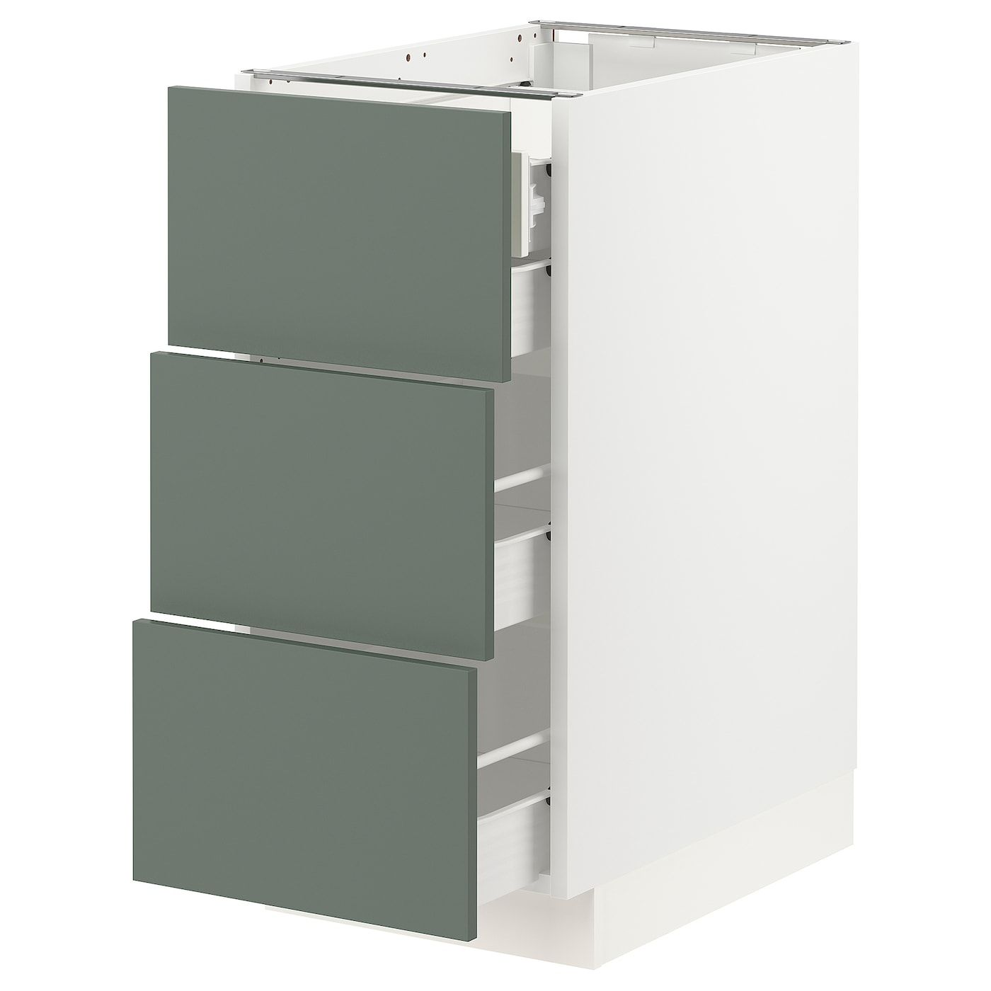 Sektion Forvara Base Cabinet W 3 Fronts 4 Drawers White Bodarp Gray Green 15x24x30 Ikea In 2020 Base Cabinets Drawers Ikea