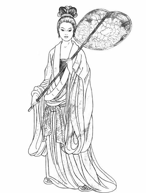 Tang Dynasty. This upper-class woman wears a strapless