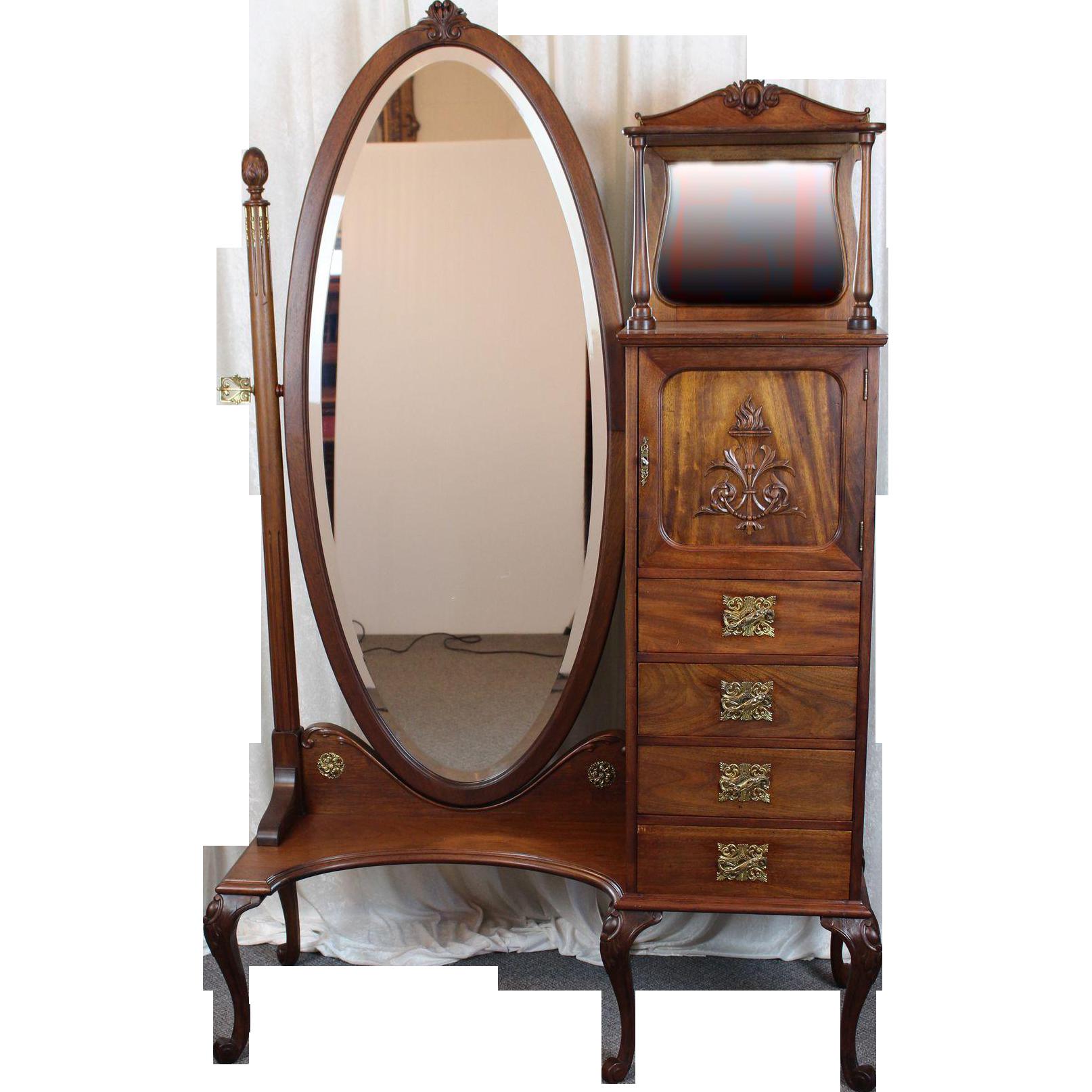 Bois peint coiffeuse Cheval Ovale Miroir Shabby Chic